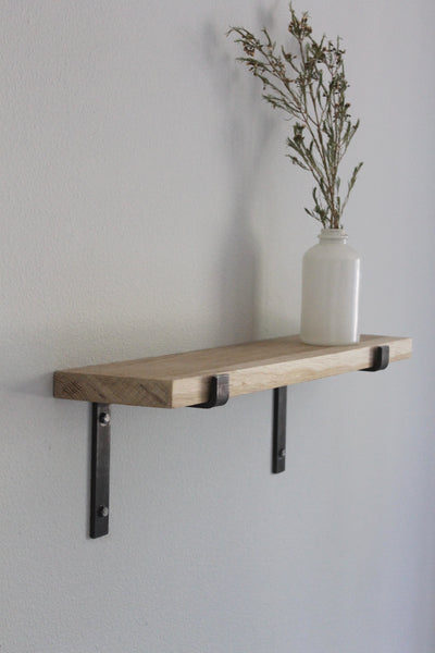 Salvaged Oak Shelves with Metal Brackets