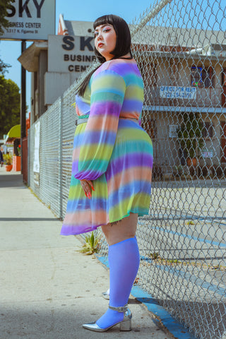 plus size model wearing proud mary fashion dress and we love colors knee-high socks