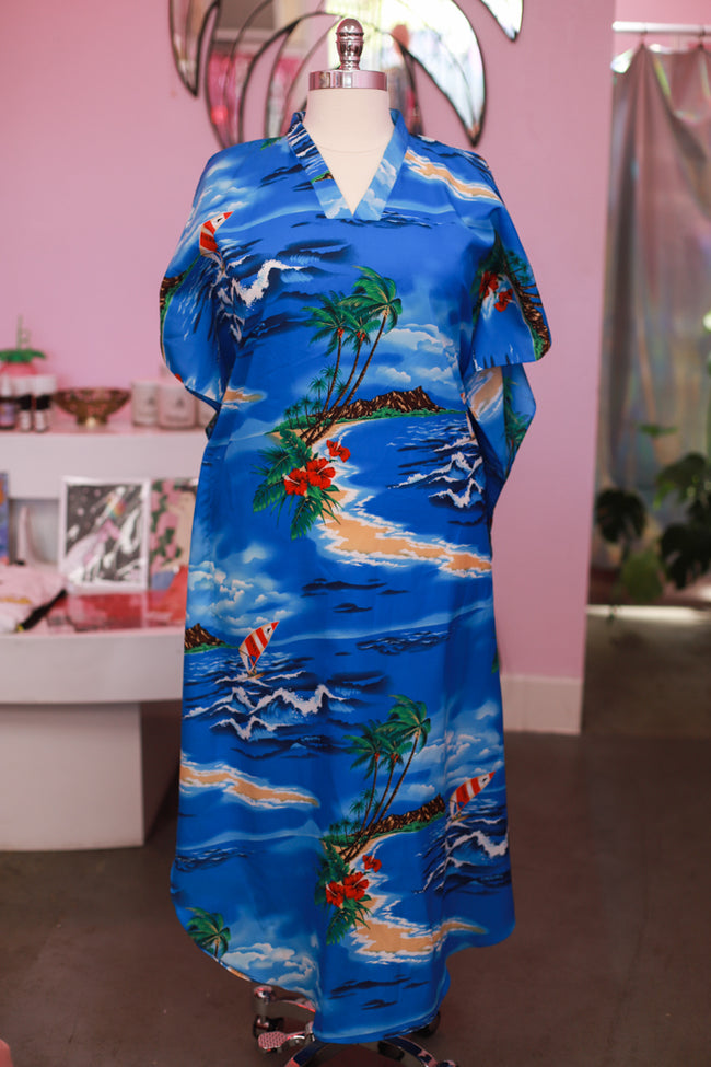 Tropical Caftan - Vintage poly caftan - best fits 1X