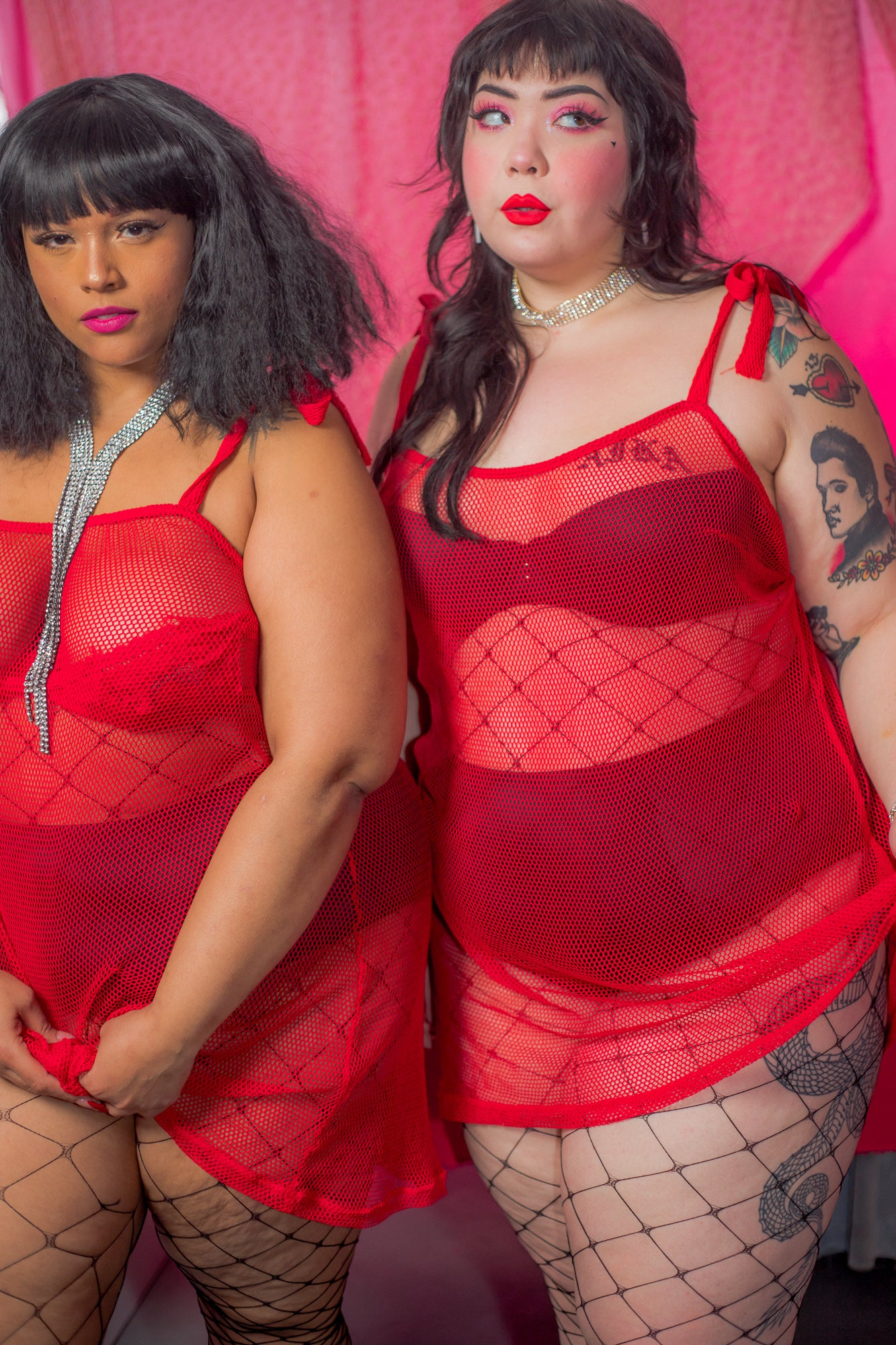 Plus size model wearing proud mary fashion los angeles plus size lingerie fishnet dress. Shot by Jessica Hinkle.