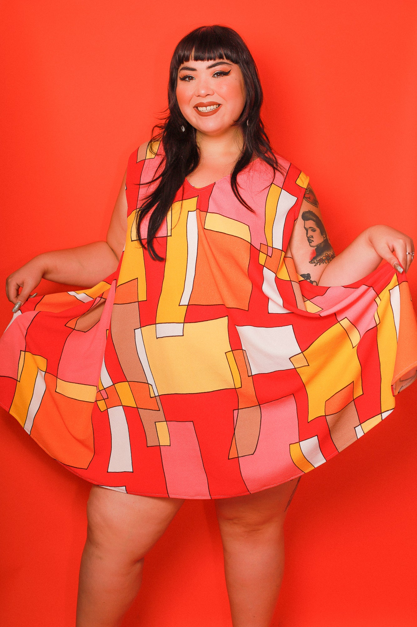 Sherbet Trapeze Mini-Dress