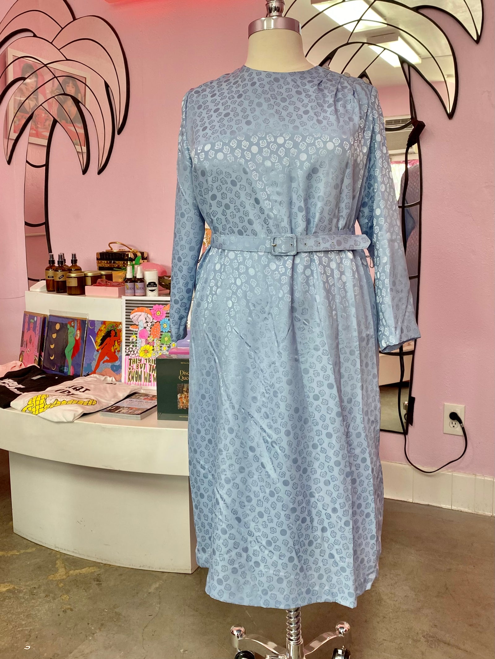 Blue Rosette Shift Dress