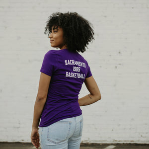 Women's Purple Basketball V-Neck