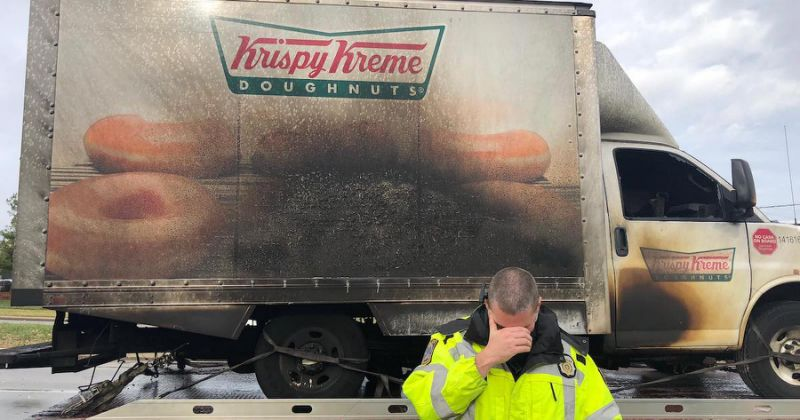 Police post heartbroken pics of Krispy Kreme doughnut truck lost in fire
