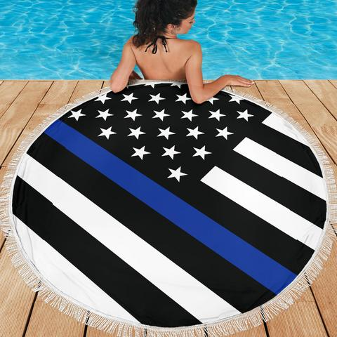 Thin Blue Line Beach Blankets - for Police and Law Enforcement supporters
