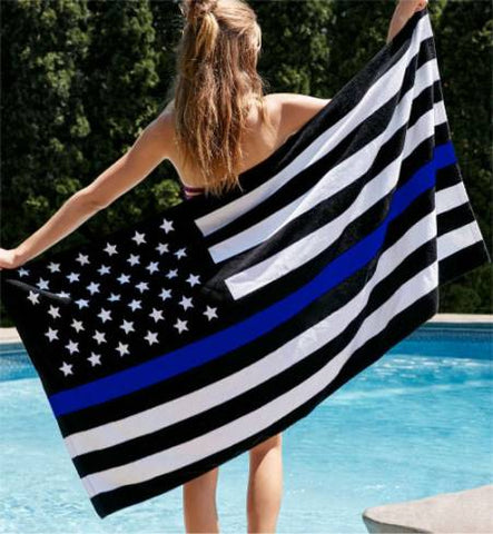 Thin Blue Line Beach Towels - for Police and Law Enforcement supporters
