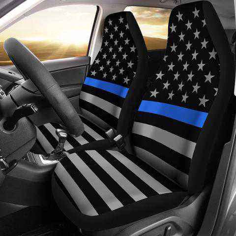 Thin Blue Line Car Seat Covers - for Police and Law Enforcement Supporters
