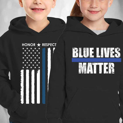 Thin Blue Line Kids Hoodies - for Police and Law Enforcement supporters