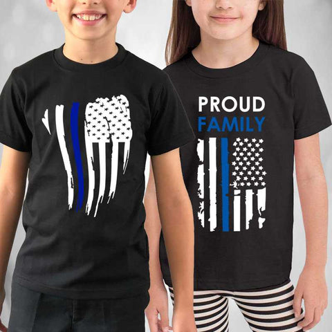 Thin Blue Line Kids Shirts - for Police and Law Enforcement supporters