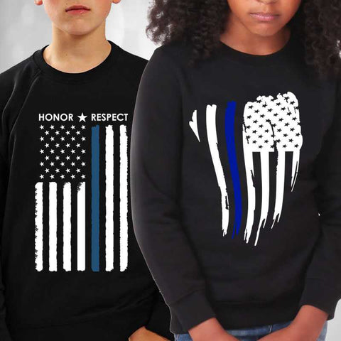 Thin Blue Line Kids Sweatshirts - Long sleeve sweaters for Police and Law Enforcement supporters