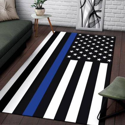 Thin Blue Line Area Rugs and Carpets - for Police and Law Enforcement supporters
