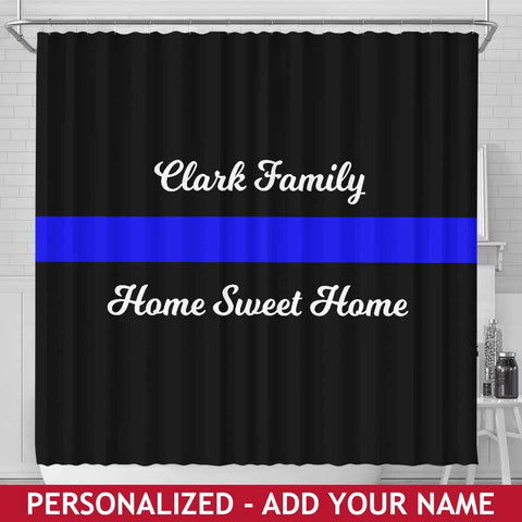 Personalized Shower Curtain - Blue Line