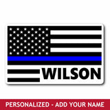 Personalized Sticker - Thin Blue Line Flag