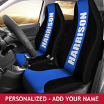 Personalized Car Seat Covers - Blue Line