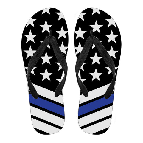 Thin Blue Line Flag - Women's Flip Flops/Slippers