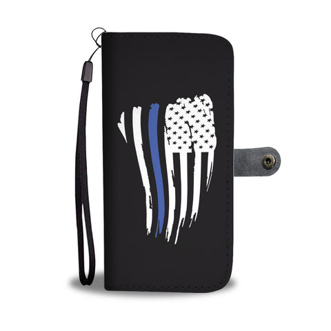 Thin Blue Line American Flag - Phone Case Wallet