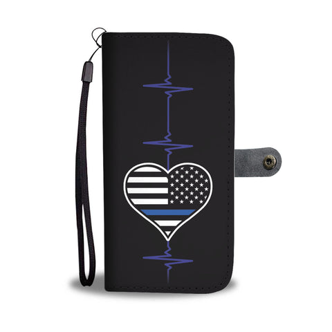 Thin Blue Line Heart Beat with Flag - Phone Case Wallet