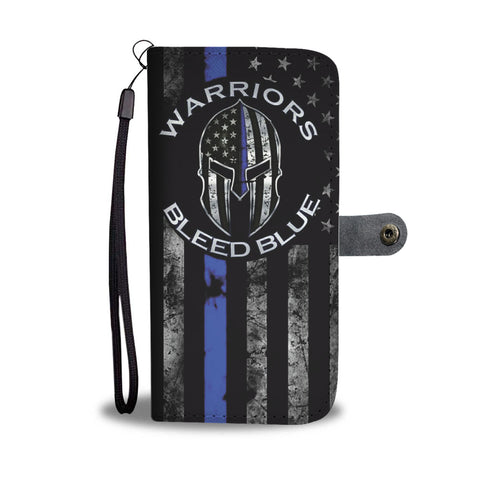 Warriors Bleed Blue - Thin blue line flag - Phone Case Wallet