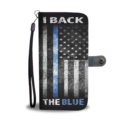 I back the Blue - Thin blue line flag - Phone Case Wallet