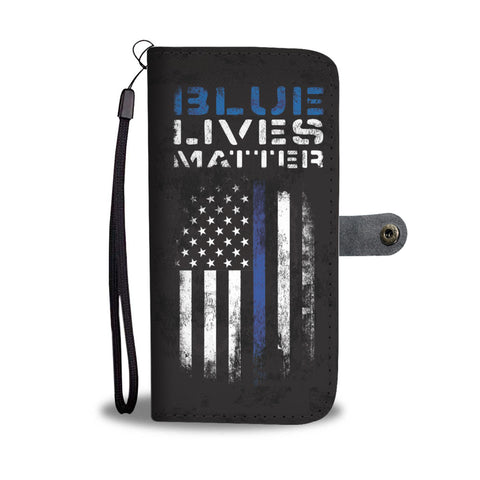 Blue Lives Matter - Thin blue line flag - Phone Case Wallet