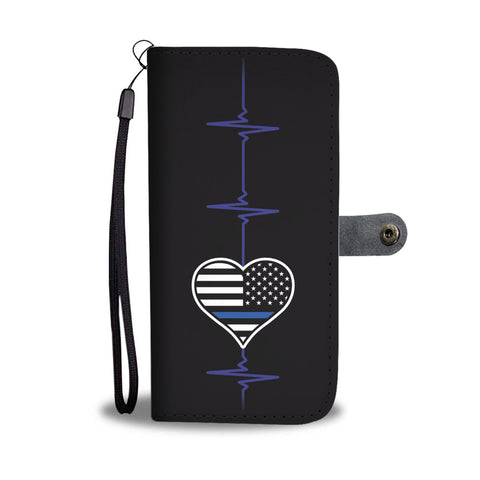 Thin Blue Line Heart Beat with Flag - Phone Case Wallet - 1