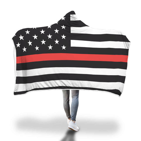 Thin Red Line Flag - Hooded Blanket