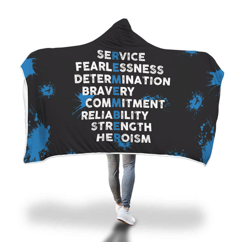 Remember Thin Blue Line Hooded Blanket