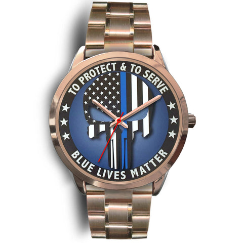 Skull - To Protect and To Serve - Blue Lives Matter Watch