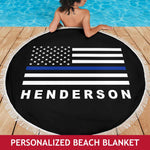Personalized - Blue Line Beach Blanket