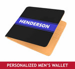 Personalized Men's Wallet - Blue Line