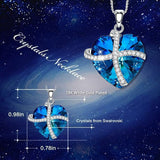 Thin Blue Line Heart - Cross Necklace - Version 1
