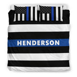 Personalized Bedding Set - Blue Line Flag