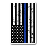 Thin Blue Line American Flag Distressed Sticker