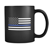 Thin Blue Line American Flag Mug - Black