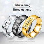 Believe - 8mm Solid Stainless Steel Comfort Fit Ring - 3 Colors