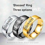 Blessed - 8mm Solid Stainless Steel Comfort Fit Ring - 3 Colors