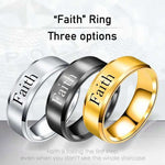 Faith - 8mm Solid Stainless Steel Comfort Fit Ring - 3 Colors