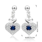TBL Triple Heart Drop Sapphire Stud Earrings - 18K White Gold Plated