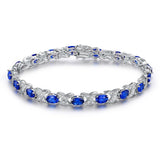 Thin Blue Line Sapphire and Diamond Accent Bracelet