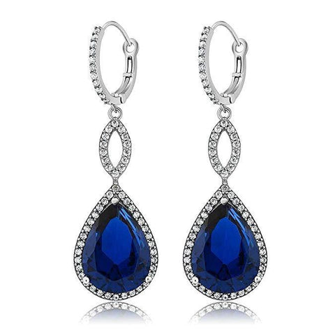 Thin Blue Line 3.55 CTTW Sapphire Pear Cut Infinity Drop Earrings