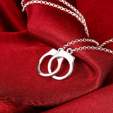 Handcuffs Necklace in 18K White Gold Plated