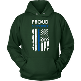 """Proud supporter"" - Thin Blue Line Flag Hoodie"