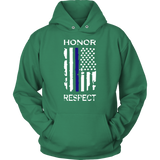"""Honor Respect"" Thin Blue Line Flag Hoodie"