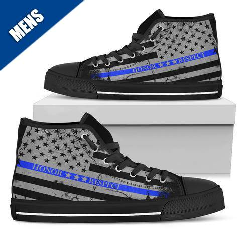 Men's - Honor Respect Thin Blue Line - High Top Shoes