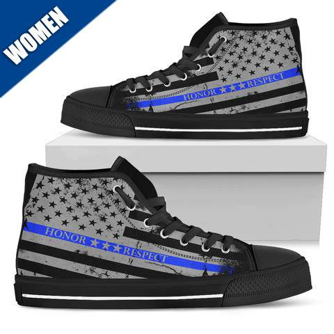 Women's - Honor Respect Thin Blue Line - High Top Shoes