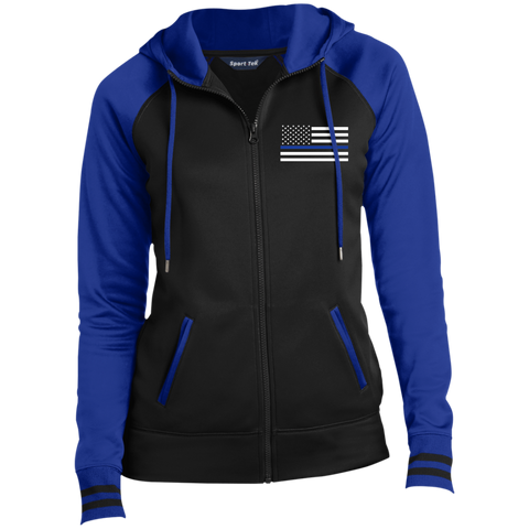 Women's Thin Blue Line Flag Full-Zip Hooded Jacket