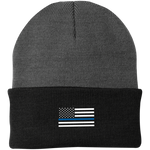 Thin Blue Line American Flag Beanie