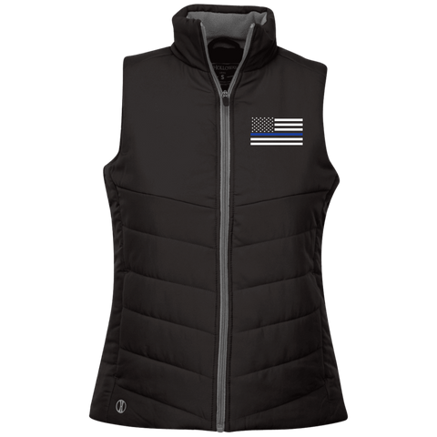 Ladies Thin Blue Line Flag Embroidered Vest