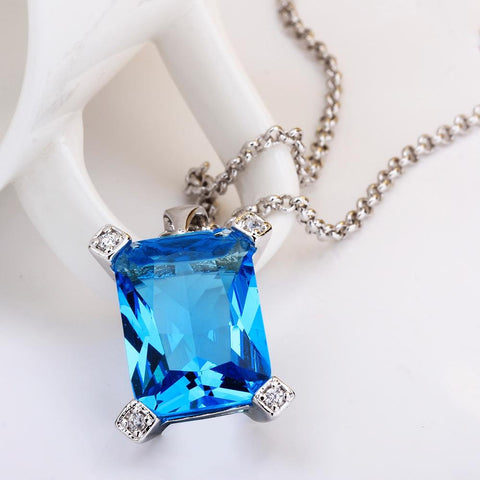 Thin Blue Line Bermuda Blue Crystal Emerald Cut Drop Necklace