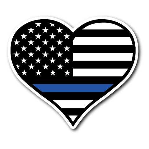 Thin Blue Line Heart Sticker/Decal